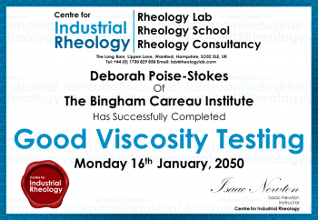 Viscosity Testing Training Certificate